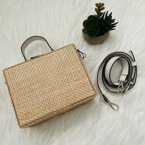 NWT Sam Edelman Evelyn Box Wicker Straw Bag